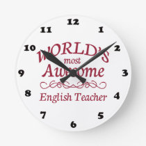 World's Most Awesome English Teacher Round Clock