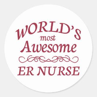 World's Most Awesome ER Nurse Classic Round Sticker