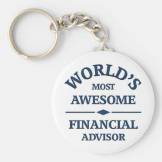 World's most awesome Financial Advisor Basic Round Button Keychain