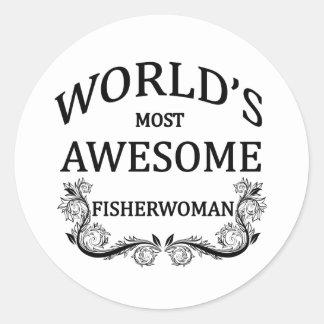 World's Most Awesome Fisherwoman Classic Round Sticker