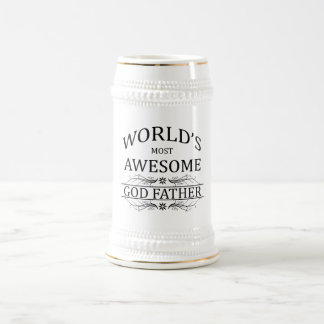 World's Most Awesome God Father 18 Oz Beer Stein