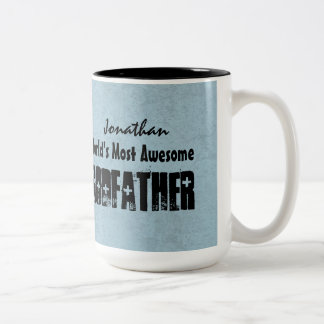 World's Most Awesome GODFATHER Blue Grunge V7 Two-Tone Coffee Mug
