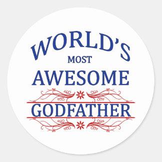 World's Most Awesome Godfather Classic Round Sticker