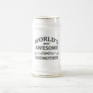 World's Most Awesome Godmother 18 Oz Beer Stein
