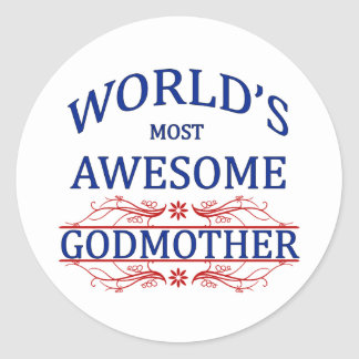 World's Most Awesome Godmother Classic Round Sticker