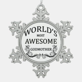 World's Most Awesome Godmother Snowflake Pewter Christmas Ornament