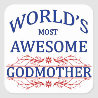 World's Most Awesome Godmother Square Sticker