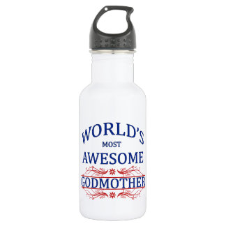 World's Most Awesome Godmother Stainless Steel Water Bottle