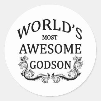 World's Most Awesome Godson Classic Round Sticker