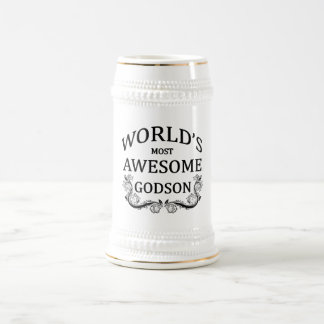 World's Most Awesome Godson 18 Oz Beer Stein