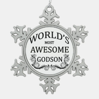World's Most Awesome Godson Snowflake Pewter Christmas Ornament