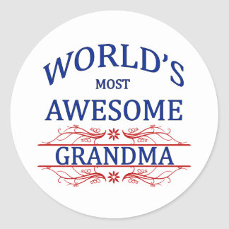 World's Most Awesome Grandma Classic Round Sticker