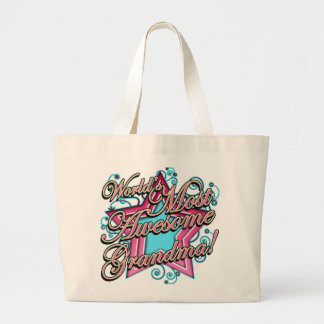 Worlds Most Awesome Grandma Large Tote Bag