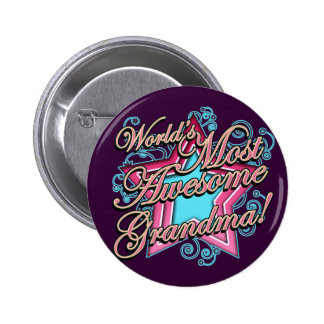 Worlds Most Awesome Grandma Pinback Button