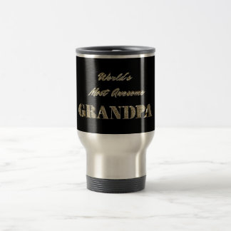 World's Most Awesome Grandpa Golden Typography Travel Mug