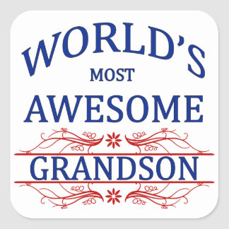 World's Most Awesome Grandson Square Sticker