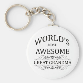 World's Most Awesome Great Grandma Keychain