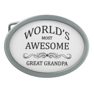 World's Most Awesome Great Grandpa Oval Belt Buckle
