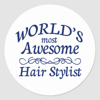 World's Most Awesome Hair Stylist Classic Round Sticker
