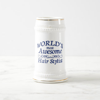 World's Most Awesome Hair Stylist 18 Oz Beer Stein