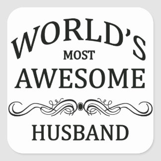 World's Most Awesome Husband Square Sticker