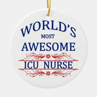 World's Most Awesome ICU Nurse Ceramic Ornament