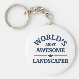 World's most awesome landscaper basic round button keychain