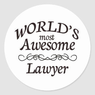 World's Most Awesome Lawyer Classic Round Sticker