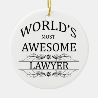 World's Most Awesome Lawyer Double-Sided Ceramic Round Christmas Ornament