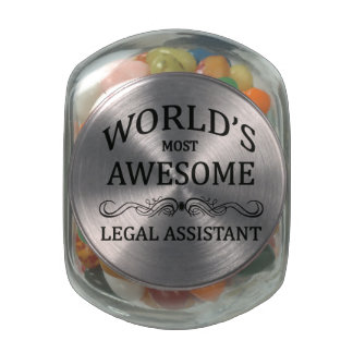 World's Most Awesome Legal Assistant Glass Candy Jar
