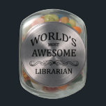 """World&#39;s Most Awesome Librarian Glass Jar<br><div class=""""desc"""">A fun gift to honor the world&#39;s most awesome librarian with.</div>"""