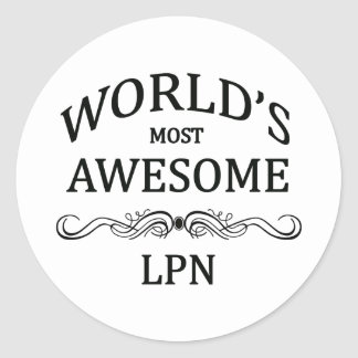 World's Most Awesome LPN Classic Round Sticker