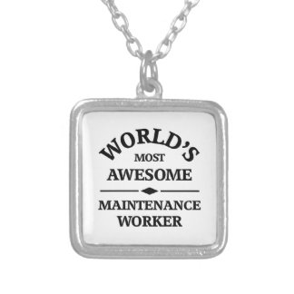 World's most awesome Maintenance Worker Silver Plated Necklace