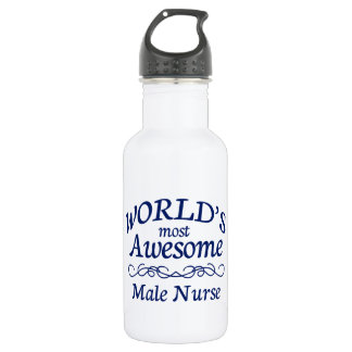 World's Most Awesome Male Nurse 18oz Water Bottle