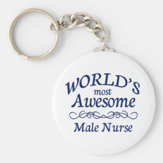 World's Most Awesome Male Nurse Basic Round Button Keychain