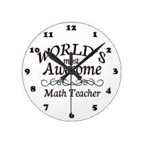 World's Most Awesome Math Teacher Round Clock