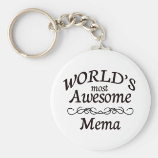 World's Most Awesome Mema Basic Round Button Keychain