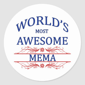 World's Most Awesome Mema Classic Round Sticker