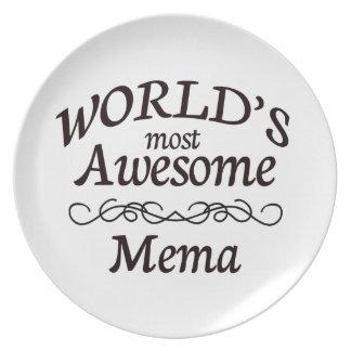 World's Most Awesome Mema Melamine Plate