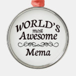 World's Most Awesome Mema Round Metal Christmas Ornament