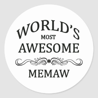 World's Most Awesome Memaw Classic Round Sticker