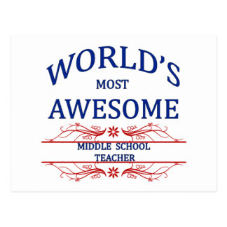World's Most Awesome Middle School Teacher Postcard
