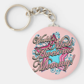 Worlds Most Awesome Mommy Basic Round Button Keychain