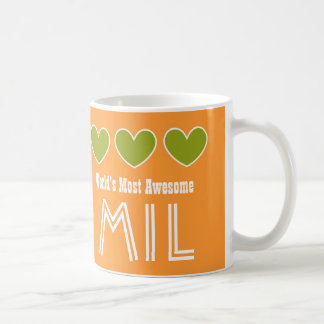 World's Most Awesome MOTHER IN LAW Hearts MIL Classic White Coffee Mug