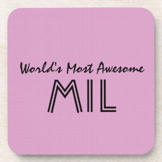 World's Most Awesome Mother In Law Pink Gift V01 Beverage Coaster