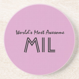 World's Most Awesome Mother In Law Pink Gift V01 Coaster