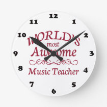 World's Most Awesome Music Teacher Round Clock