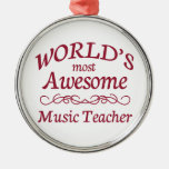World's Most Awesome Music Teacher Round Metal Christmas Ornament