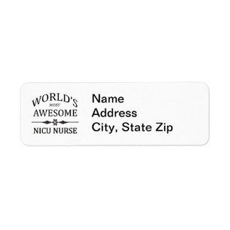 World's Most Awesome NICU Nurse Return Address Label