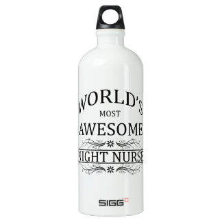 World's Most Awesome Night Nurse Aluminum Water Bottle
